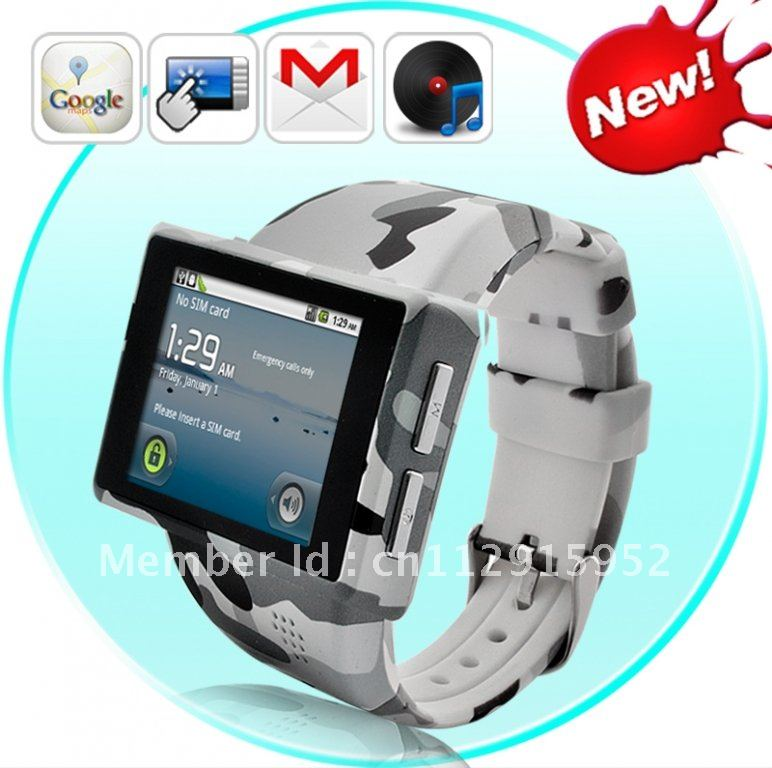 """Android Phone Watch """"Rock"""" – 2 Inch Capacitive Screen, 8GB Micro SD, 2MP Camera"""